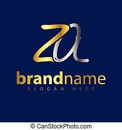logotipo, vettore, za, lettera, iniziale