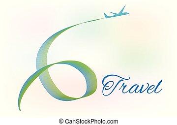 logotipo, viaggiare, aeroplano