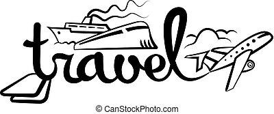 logotipo, viaggiare, crociera