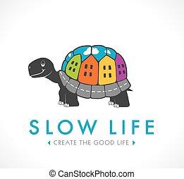 logotipo, vida, concepto, -, lento