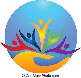 logotipo, vida, pessoas, feliz, protegendo