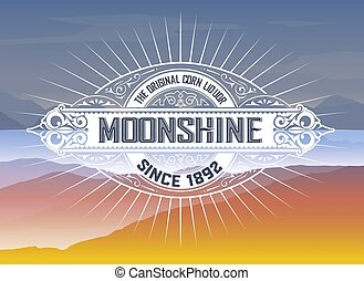 logotipo, vinage, fondo, montagne