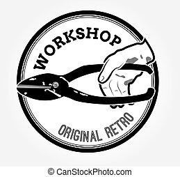 logotipo, vindima, tesouras