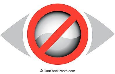 logotipo, visão, não