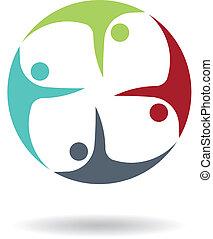 logotipo, volare, lavoro squadra, 4