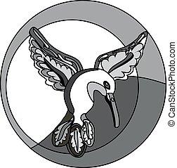 logotipo, vuelo, Colibrí, Monocromo