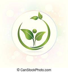 logotipo, watecolor, salute, mette foglie, natura