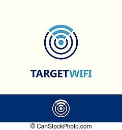 logotipo, wifi, alvo, modelo