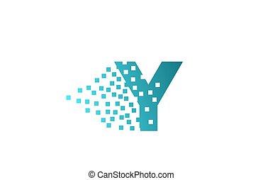 logotipo, y, companhia, gasto, pixel, incorporado, letra ...