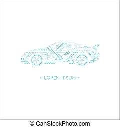 logotipo, y, icono, coche, azul, contorno