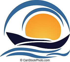 logotipo, yacht, barca