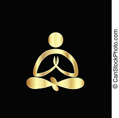 logotipo, yoga, oro, uomo