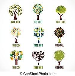 logotipos, ícones, árvore, -, cobrança, verde