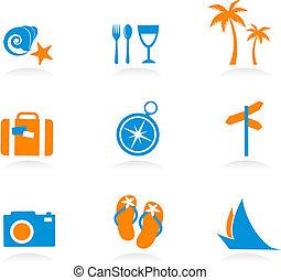 logotipos, ícones, -, férias, 2, turismo