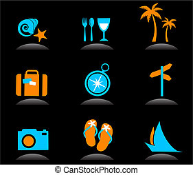 logotipos, ícones, -, férias, 3, turismo