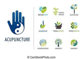 logotipos, alternativa, conceito, chinês, wellness, ioga, -, vetorial, ícones, medicina, meditação, zen