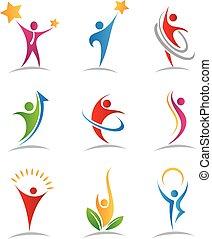 logotipos, armonía, iconos