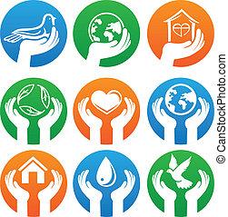 logotipos, caridad, vector, señales