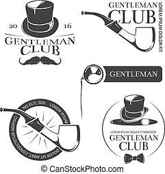 logotipos, clube, etiquetas, cavalheiro, vetorial, retro, emblemas, emblemas