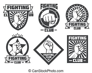 logotipos, clube, vindima, etiquetas, lucha, luta, emblemas, vetorial, libre, mma, emblemas