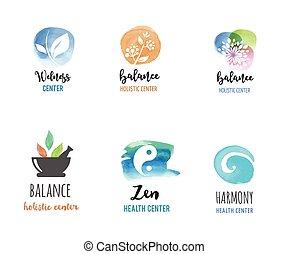 logotipos, conceito, wellness, zen, -, aquarela, vetorial, ícones, ioga, medicina, alternativa, meditação
