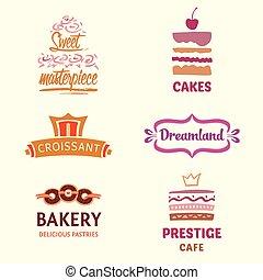 logotipos, conjunto de café, confitería, patrones, s,...