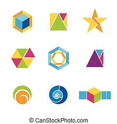 logotipos, conjunto, geométrico