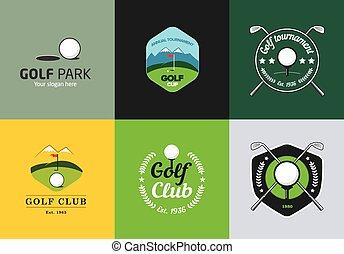 logotipos, conjunto, golf, color, vendimia, campeonato,...