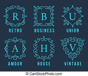 logotipos, conjunto, luz azul, monogram