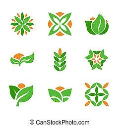 logotipos, conjunto, natural, eco, forma., creativo, símbolos, hoja verde, template.