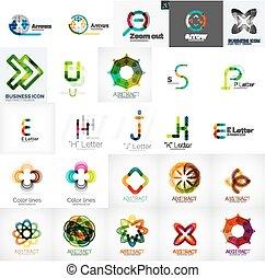 logotipos, conjunto, universal, elementos, diseño, compañía