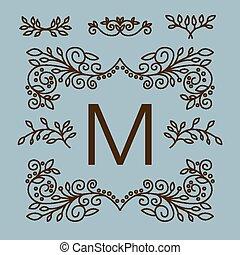 logotipos, conjunto, vector, diseño, floral, línea, elementos