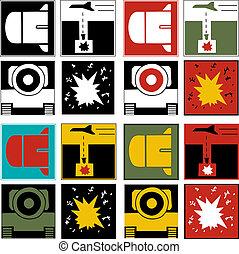 logotipos, de, guerra