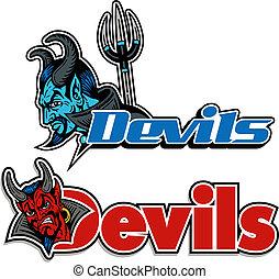 logotipos, diabo, uniformes, equipe