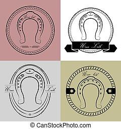 logotipos, diferente, ferradura, luck., styles., seu, inscription-