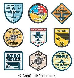 logotipos, emblemas, força, exército, jato, etiquetas, ar, emblemas, vetorial, aviação, jogo, remendo
