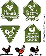 logotipos, galo, galinha, galinha, ou, emblemas