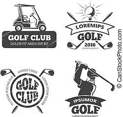 logotipos, golfe, etiquetas, vetorial, retro, emblemas, emblemas