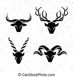 logotipos, horned, animals.