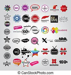 logotipos, indicadores, vector, colección, señales
