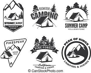 logotipos, jogo, acampamento, badges., vindima, equipment., barraca, ao ar livre, floresta, vector., emblemas, montanhas., ou, aventura