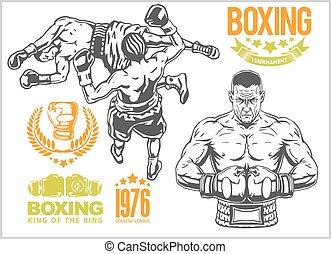 logotipos, jogo, elements., vindima, pugilistas, -, dois, luta, emblemas, projetado, entre, etiquetas, monocromático, illustrations.plus, boxe, emblemas