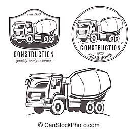 logotipos, jogo, misturador, concreto, vetorial, truck.