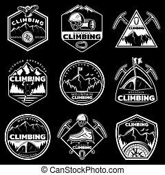 logotipos, jogo, montanha, vindima, escalando, branca
