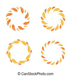 logotipos, jogo, orgânica, border., cor, sol, abstratos, natureza, ensolarado, isolado, amarela, logotypes., vetorial, sun., folheia, elegante, logotipo, círculo, logo., set., design.