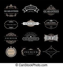 logotipos, jogo, pedaços, clássicas