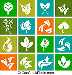logotipos, naturaleza, iconos, -, colección, 6
