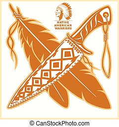 logotipos, norteamericano, vector, indio