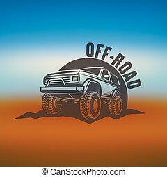 logotipos, o, en vuelo - roading, fondo., coche, off-road, etiquetas, confuso, suv, monocromo, emblemas, viaje, insignias
