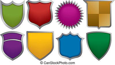 logotipos, ocho, insignias
